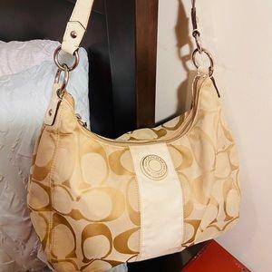 Beige Hobo Style Signature Coach Bag